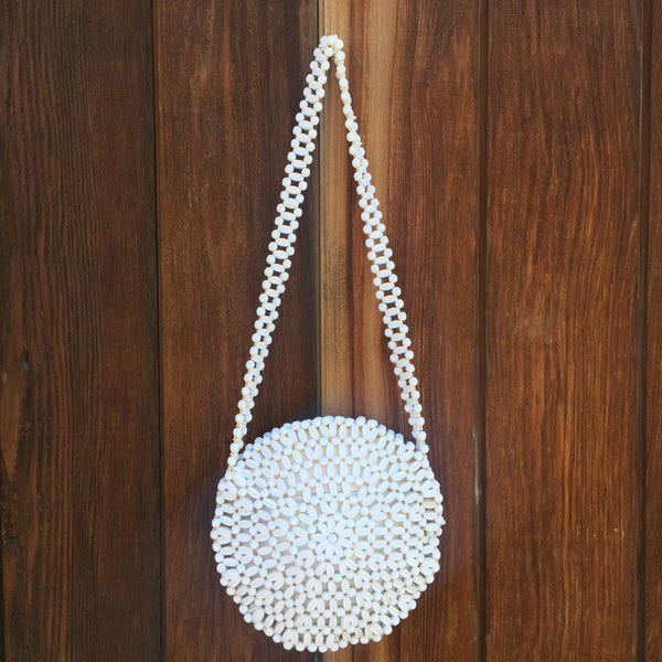 1960s White Beaded Purse