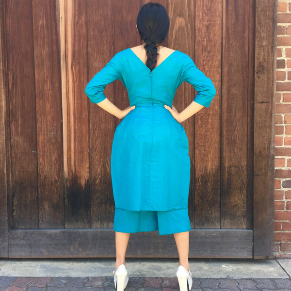 1950's Abstract Teal Silk Cocktail Dress