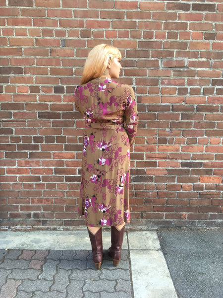 1980s Victor Costa Fall Floral Dress