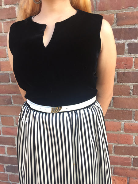 1960s Mod Black Velvet Striped Dress