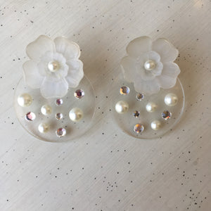 Lucite Pearl and Flower Earrings