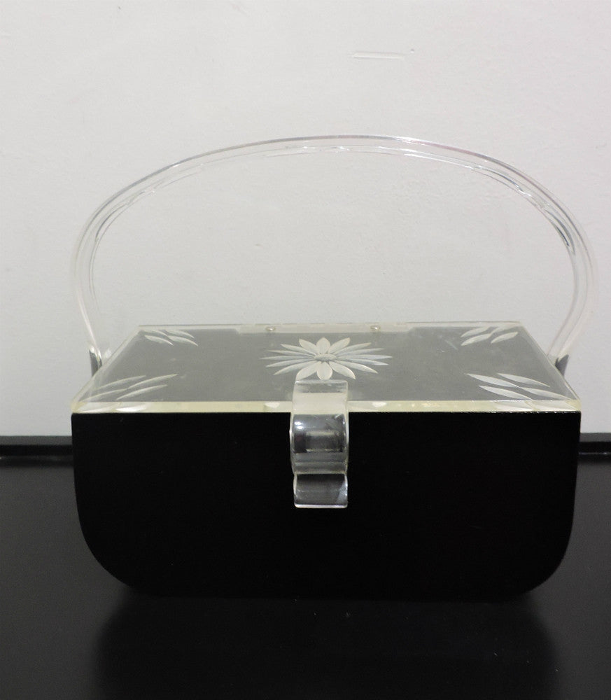 Lucite box purse set