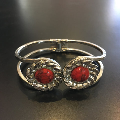 1970s Silver and Red Cabochon Clamp Bracelet