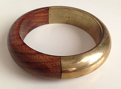 1970s Wood and Brass Two Tone Bangle