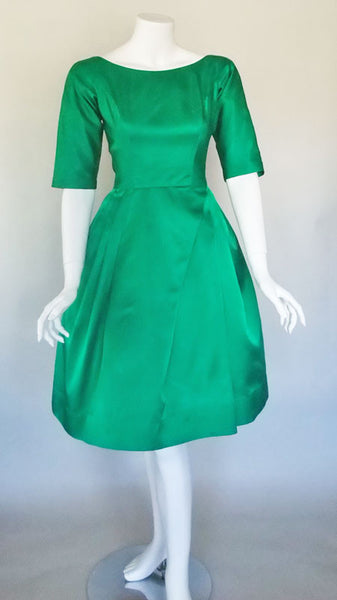 1960s Emerald Green Satin Dress