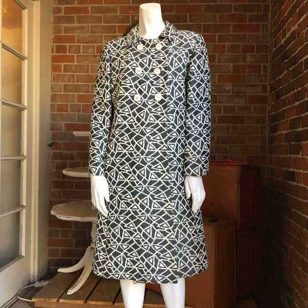 Vintage Abstract Print Coat