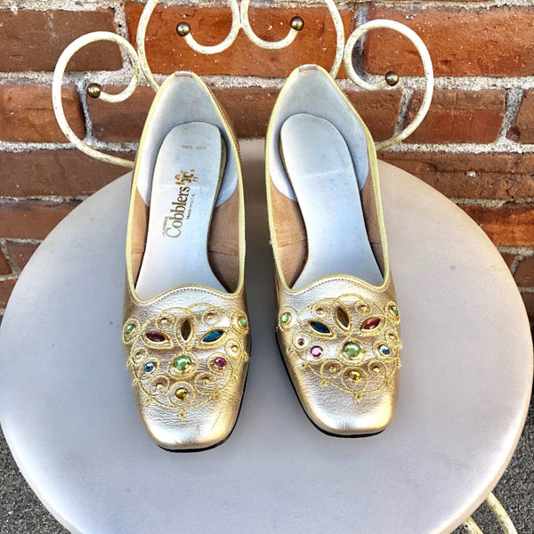 1960s Gold Jewel Square Toe Pumps