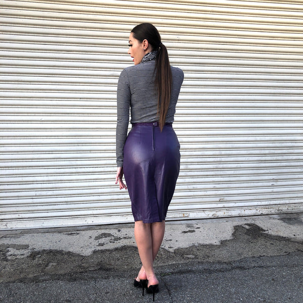 1980s Plum Leather Skirt