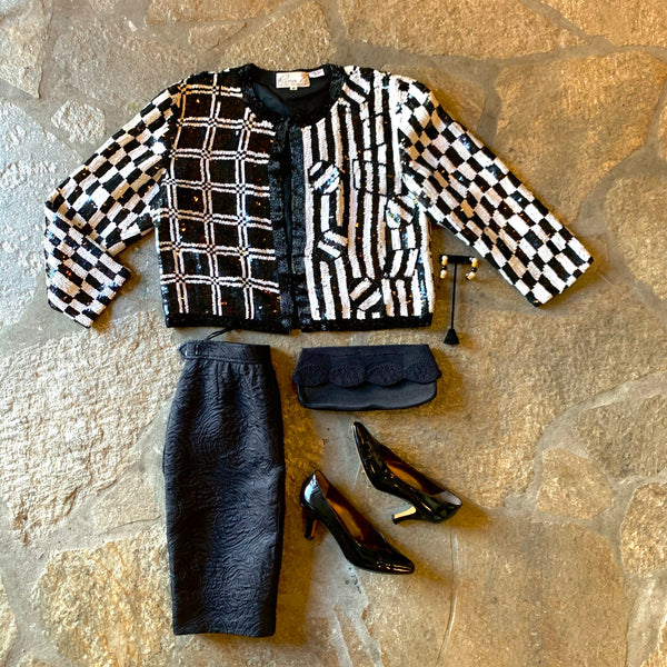 1980s Sequin and Silk Checkerboard Jacket