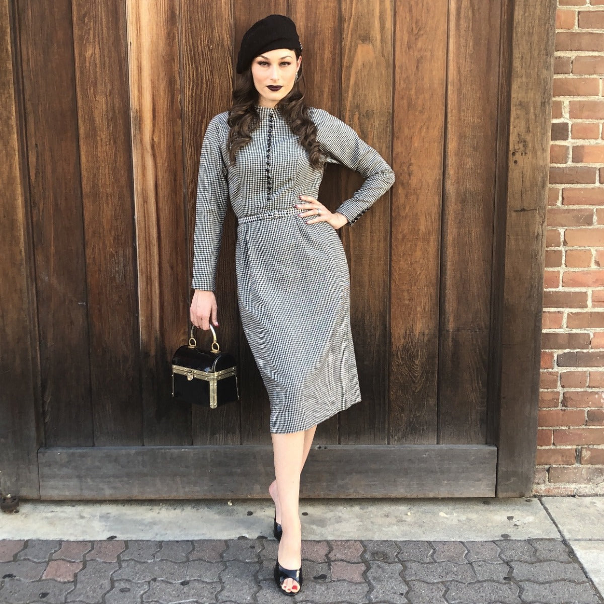 1950s Dolman Sleeve Gingham Wool Dress