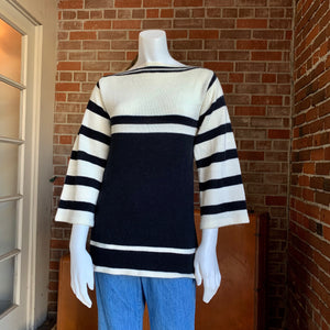 Vintage 1970s Black and White Knit Sweater