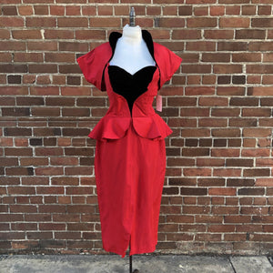 1950s Red Taffeta Peplum Bolero Dress