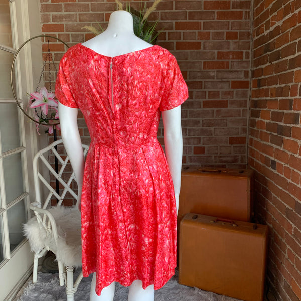 1960s Silk Watercolor Shocking Pink Dress