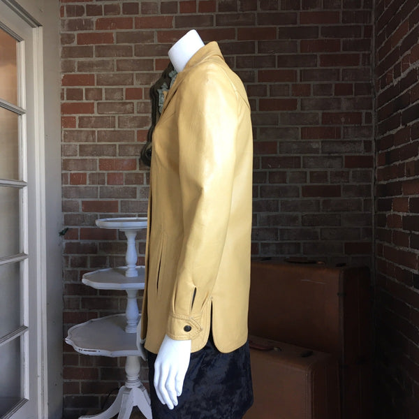 1970s Butterscotch Peter Caruso Leather Blazer