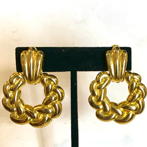 Gold Hoop Wreath Earrings