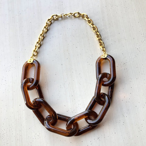 Kenneth Jay Lane Resin Gold Chain Link Necklace