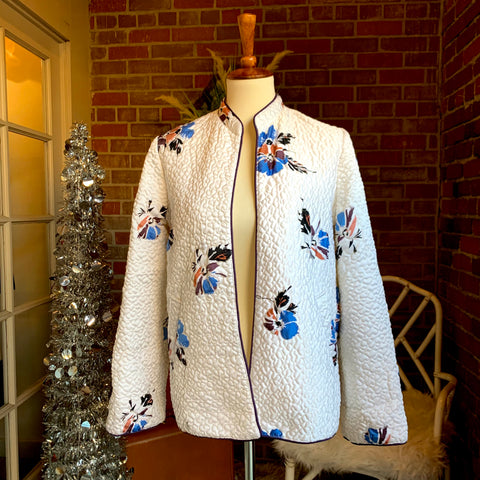 1980s Quilted Floral Appliqué Jacket