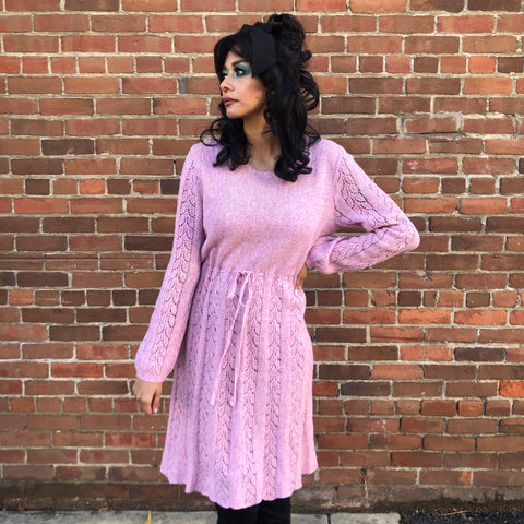 1970s Dusty Rose Sweater Dress