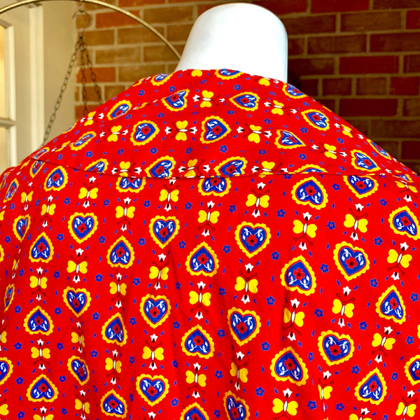 1960's Red Heart Print Top