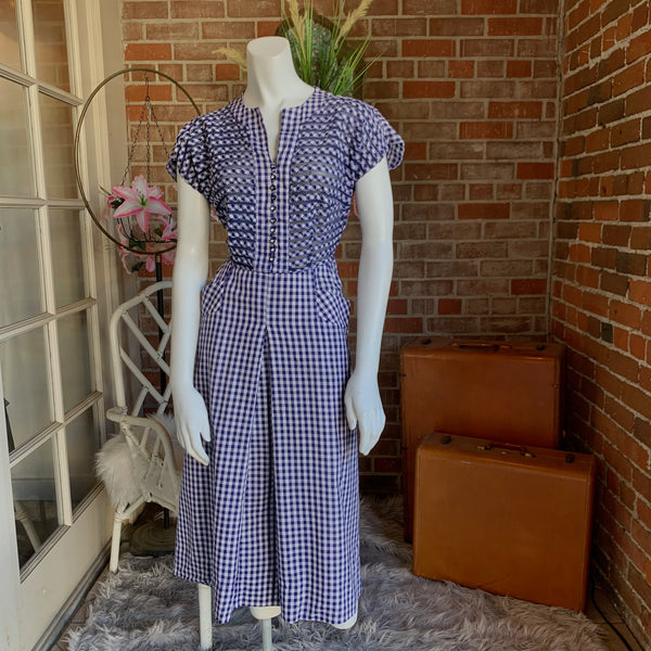 1940s Blue Cotton Gingham Dress