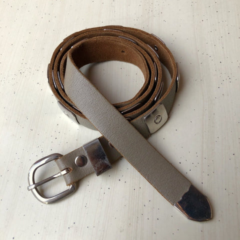 1980s Taupe Leather Belt