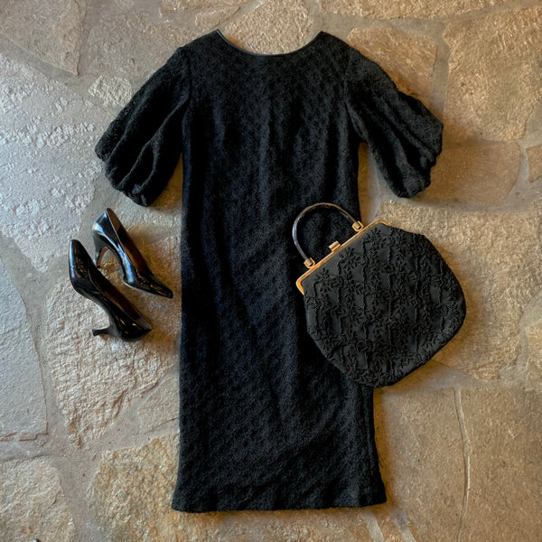 1960s Black Knit Dress Structured Sleeves
