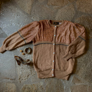 1980s Mohair and Plisse Caramel & Copper Sweater