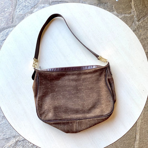 1980's Givenchy Sac Signature Suede Shoulder Bag