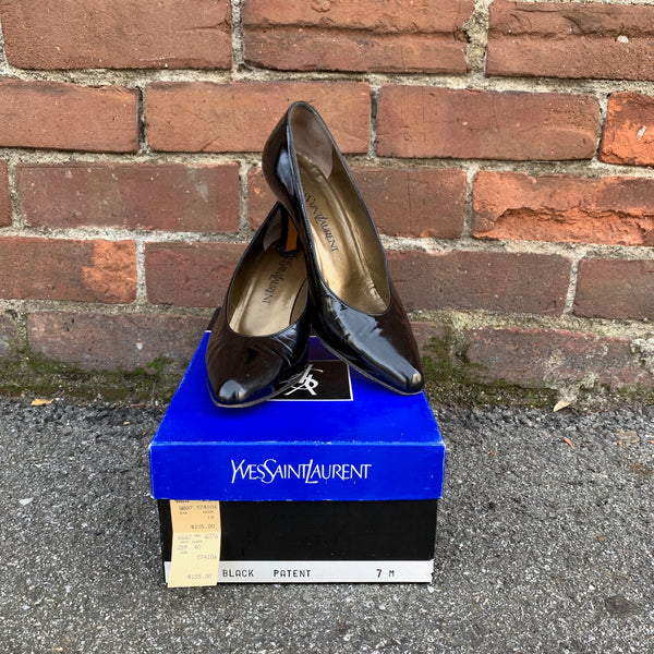1980s Yves Saint Laurent Black Patent Pump