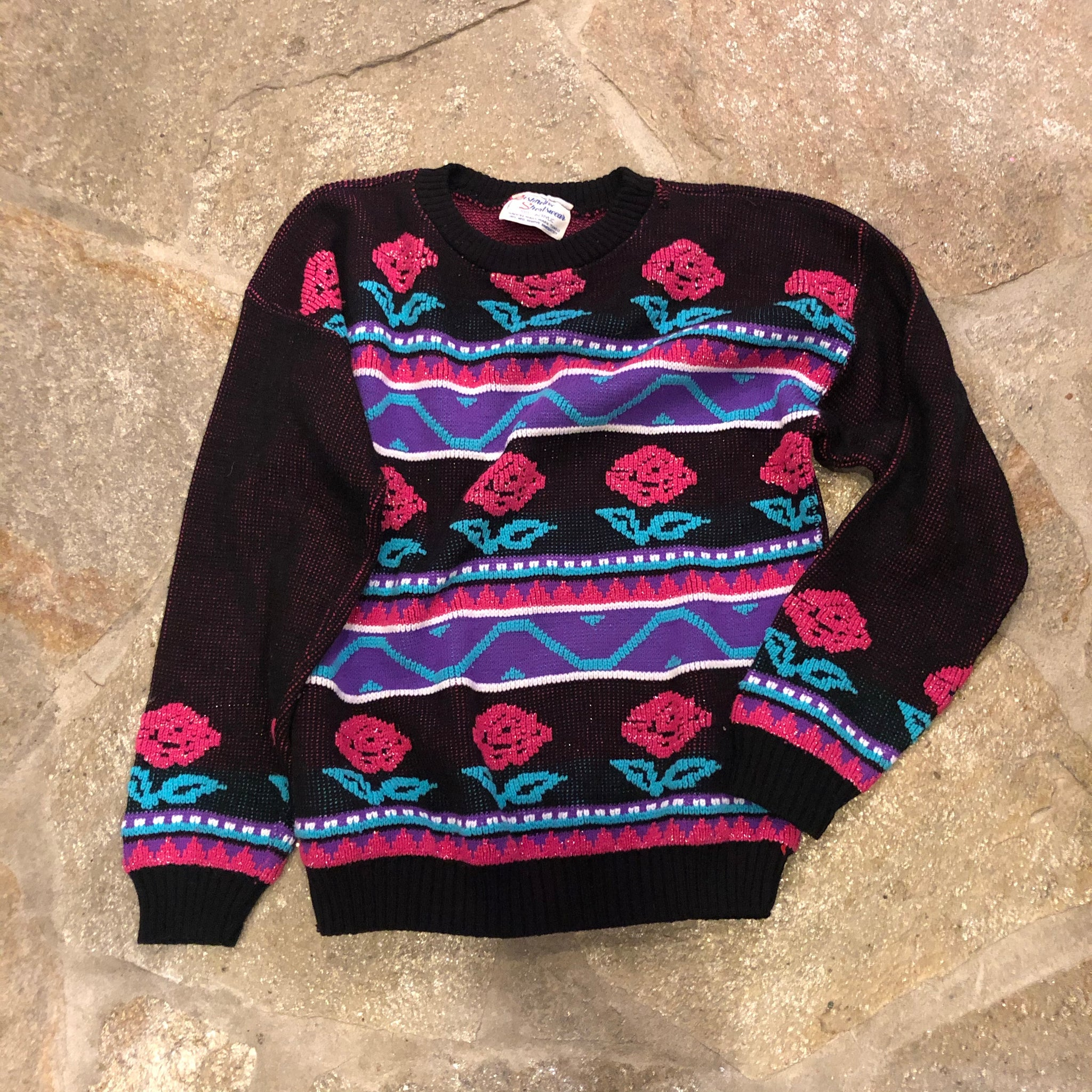 1980s Roses Pastel Sweater
