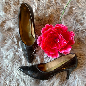Vintage Just Say Adores Black Snakeskin Heels