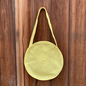 Yellow Round Raffia Bag