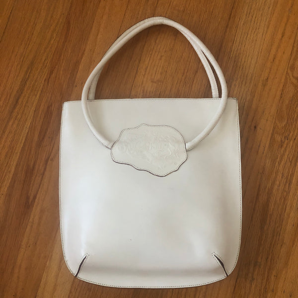 1990s Creamy White Leather Bag