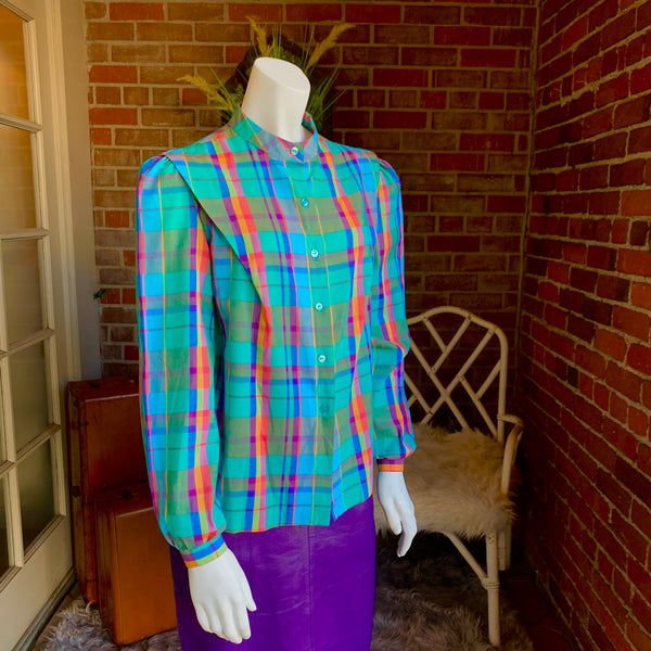 1980s Pastel Plaid Mandarin Collar Blouse