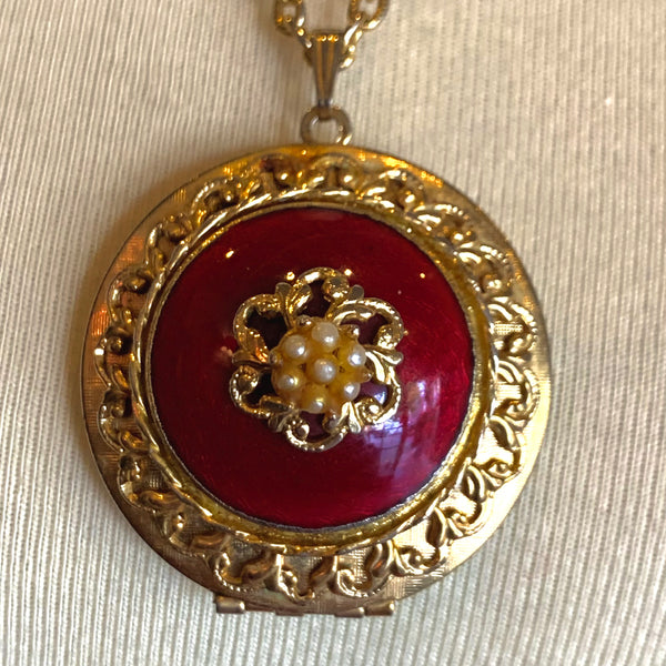 Gold and Ruby Victorian style Locket Necklace