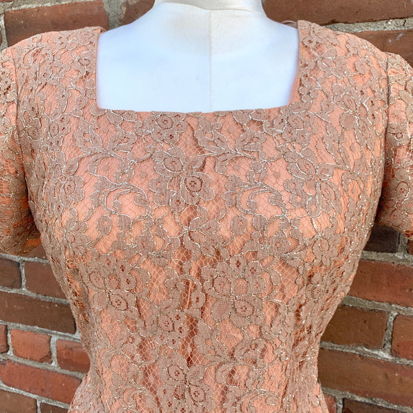 1950s Champagne and Gold Lurex Dress - Plus Size