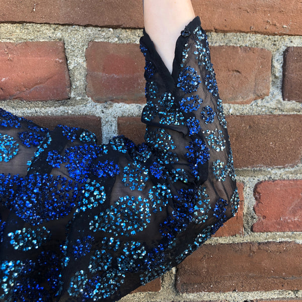 1980s Vintage Victor Costa Sapphire Sequin Gown