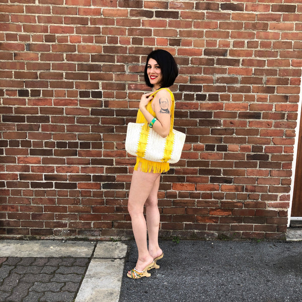1970s Yellow Raffia Bag