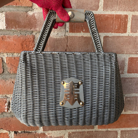 1960s Asian Gray Basket Purse