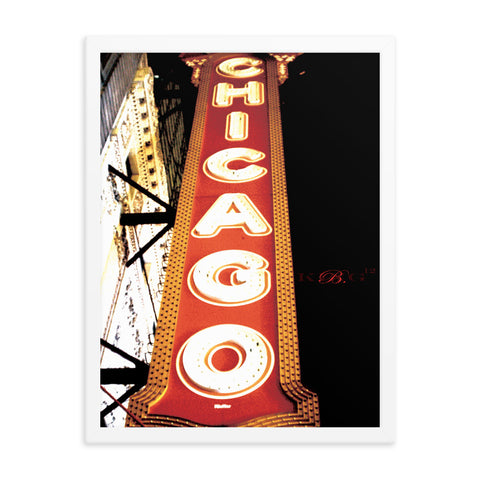 Chicago sign white frame