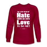 Unique Graphic Long sleeve t-shirt - Hate...Love - King B. - dark red
