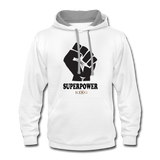 Superpower Unisex Contrast Hoodie - white/gray
