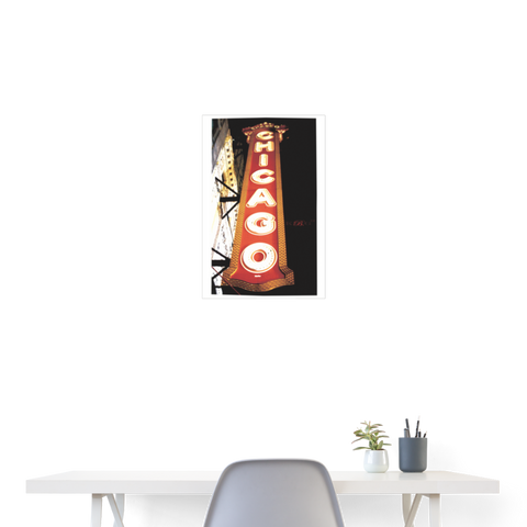 Chicago by King B.Poster 18x24 - white