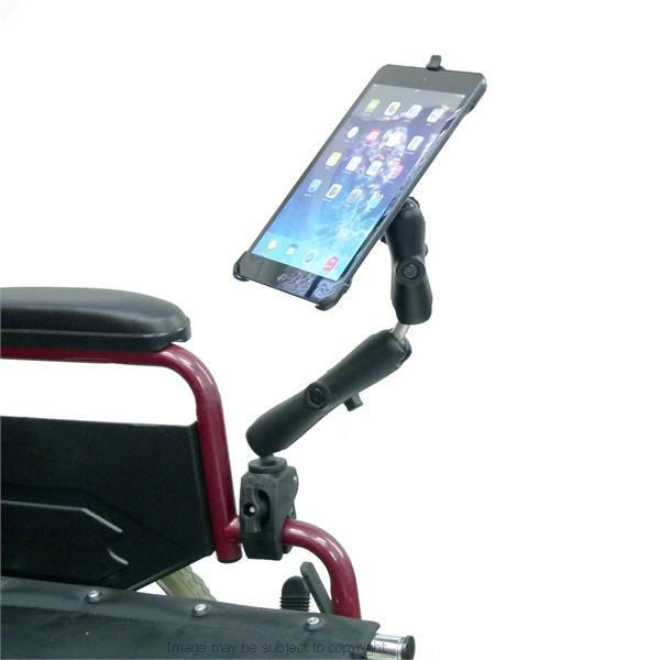 Dedicated Wheelchair Rail - Tube Mount with Extension for iPad Mini 2019 (sku 50606) - BuyBits Ltd UK