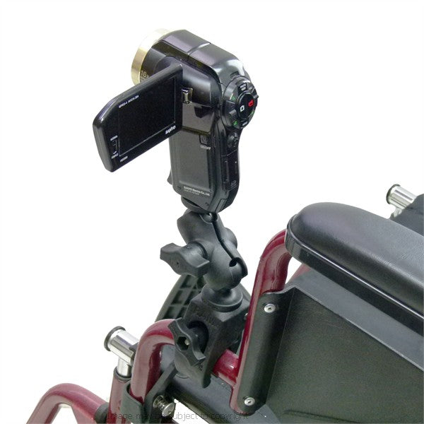 Wheelchair Rail and Tube Compact Mount with Camera-Camcorder Round Threaded Stud Base (sku 21748)