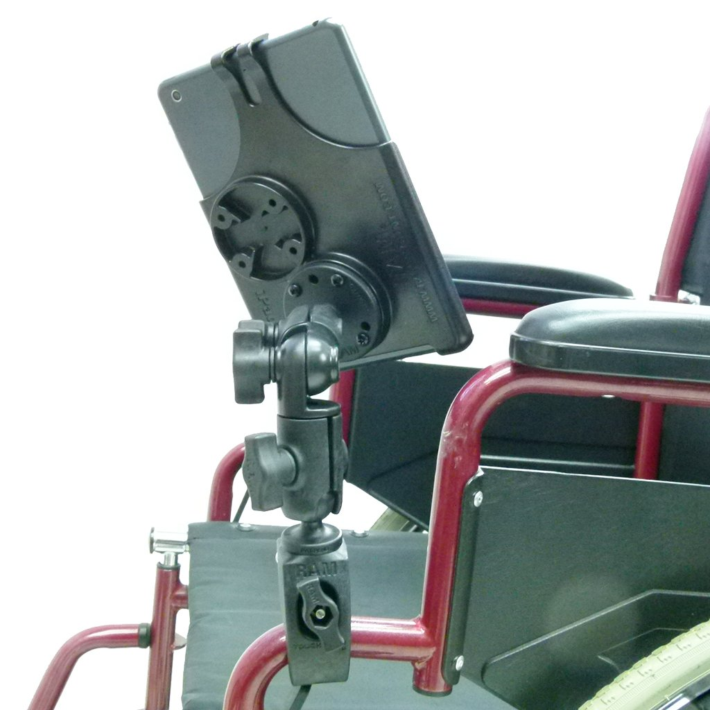 Wheelchair Rail & Tube Mount with Double Swivel Arm & Model Specific iPad Mini 2019 Cradle (sku 50609) - BuyBits Ltd UK