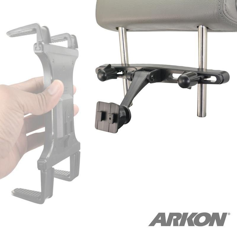 Arkon HM007-SBH Car Seat Headrest Mount Pedestal with Tiltable Arm - Dual T-Tab Compatible (sku 55993) - BuyBits Ltd UK