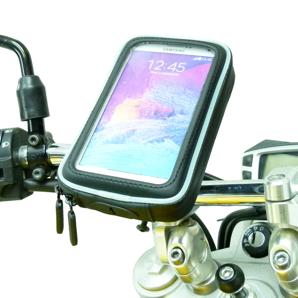 M8 Motorcycle Handlebar Clamp Mount with Water-Resistant Smartphone Case for Samsung Galaxy Note 4 (sku 36078)