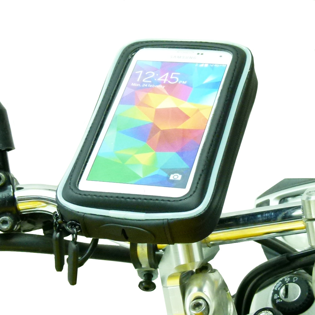 M8 Motorcycle Handlebar Clamp Mount with Water-Resistant Smartphone Case for Samsung Galaxy S5 (sku 36081)