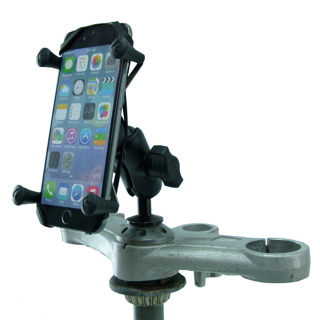"12mm Motorcycle Stem Mount & Phone Holder for iPhone 6S Plus (5.5"") fits Honda Blackbird & Kawasaki (sku 35941)"